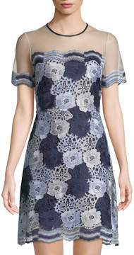 T Tahari Two-Tone Floral Lace Dress w/ Sheer Yoke
