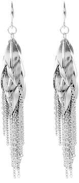 Amrita Singh Silvertone Leaf Drop Earrings