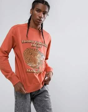 MHI Embroidered Crouching Tiger Crew Neck Sweatshirt