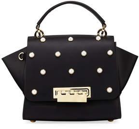 Zac Posen Eartha Pearly Leather Crossbody Bag, Black