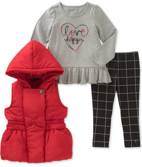 Tommy Hilfiger 3-Pc. Hooded Vest, Long-Sleeve T-Shirt & Leggings Set, Toddler Girls (2T-5T)