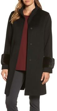 Fleurette Women's Lora Piana Wool Coat With Genuine Mink Fur Bracelet Cuffs