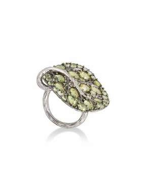 Michael Aram Botanical Leaf Peridot Ring with Diamonds