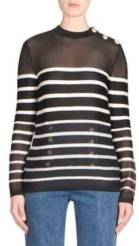 Balmain Breton Stripe Wool Sweater
