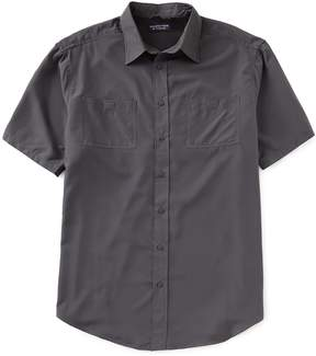Roundtree & Yorke Performance Big and Tall Short-Sleeve Grid Capeback Sportshirt