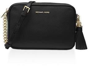 MICHAEL Michael Kors Ginny Medium Leather Camera Bag - BLACK/GOLD - STYLE