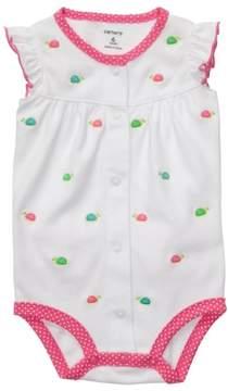 Carter's Infant Girls White & Pink Turtle Creeper Romper Newborn NB