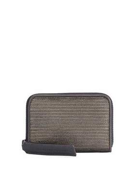 Brunello Cucinelli Medium Corduroy-Effect Leather Wallet