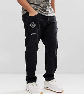 ONLY & SONS PLUS Carrot Fit Jeans With Badge Details