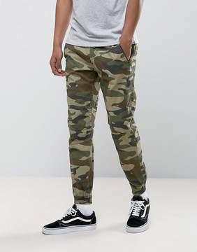 Pull&Bear Regular Fit Cargo Joggers In Green Camo