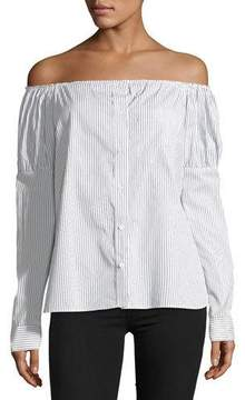 Bailey 44 Sovereign Off-the-Shoulder Striped Poplin Shirt