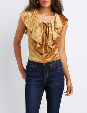 Charlotte Russe Velvet Ruffle-Trim Lace-Up Top