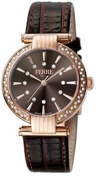 Ferré Milano Women's Swiss Made Swiss Quartz Dark Brown Leather Strap Watch.