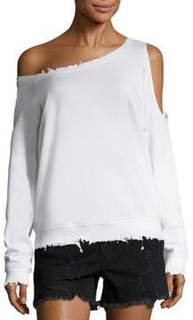 RtA Willow One-Shoulder Cutout Cotton Sweatshirt