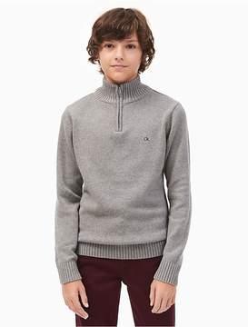 Calvin Klein Jeans Boys Solid Quarter Zip Sweater