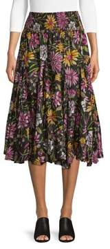 Context Pleated Winding Floral Midi Skirt