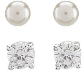 Cezanne Cubic Zirconia & Faux-Pearl Stud Earring Set