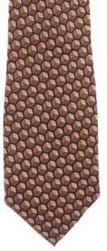 Fendi Geometric Print Silk Tie