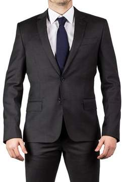 Luciano Barbera Club Men's Slim Fit Wool Two Button Graphite Grey.