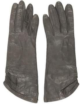 Saint Laurent Leather Pleated Gloves