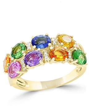 Bloomingdale's Multicolor Sapphire, Diamond and Tsavorite Ring in 14K Yellow Gold - 100% Exclusive