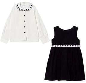 Rachel Riley Navy Heart Velvet Dress and Heart Collared Top
