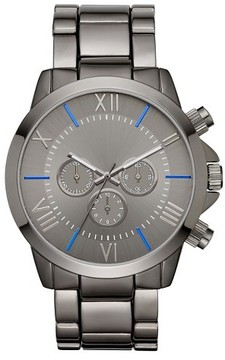 Mossimo Men's Roman Numeral Dial with Blue Accents Bracelet Watch - Gun/Blue