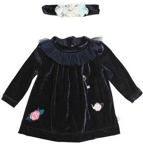 Billieblush Embroidered Velvet Dress