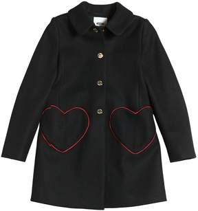Moschino Felt Wool Coat W/ Heart Pockets