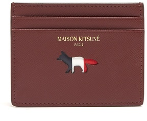 MAISON KITSUNÉ Cutout-fox leather cardholder