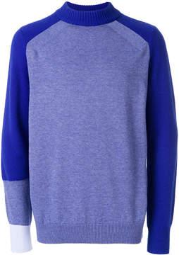 Sacai raglan panelled sweater
