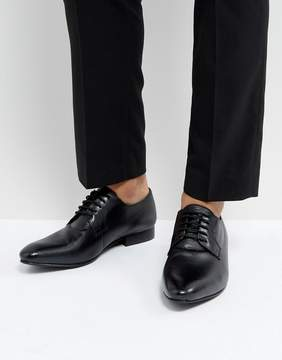 Dune Derby Shoes In Saffiano Black Leather