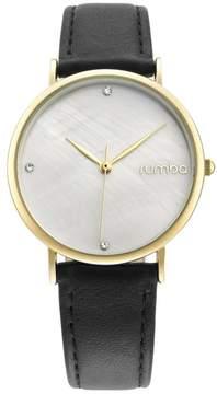 RumbaTime Lafayette Goldtone Black Leather Strap Watch