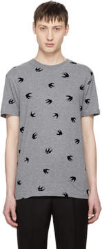 McQ Grey and Black Swallow T-Shirt