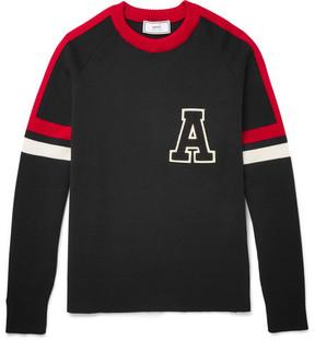 Ami Slim-Fit Appliquéd Merino Wool-Blend Sweater