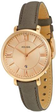Fossil Jacqueline Rose Dial Grey Leather Strap Ladies Watch