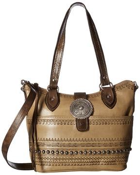 American West Trading Post Convertible Zip Top Bucket Tote Tote Handbags