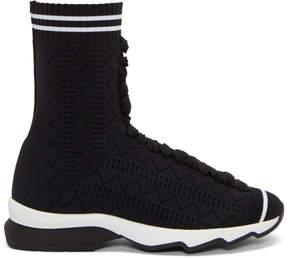 Fendi Black Stretch Sock High-Top Sneakers