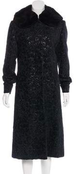 Cinzia Rocca Fur-Trimmed Jacquard Coat