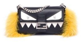 Fendi Monster Leather, Fox Fur & Mink Fur Micro Baguette