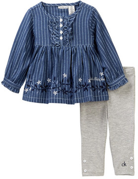 Calvin Klein Embroidered Striped Tunic & Legging Set (Baby Girls)