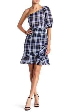 Donna Morgan Plaid One-Shoulder Linen Blend Dress