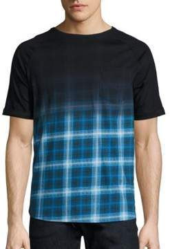 Madison Supply Ombre Plaid Elongated Tee