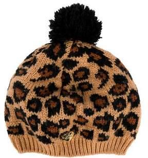 Betsey Johnson Knit Leopard Print Beanie