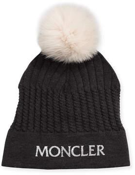 Moncler Girls' Berreto Virgin Wool Logo Beanie Hat w/ Fur Pompom