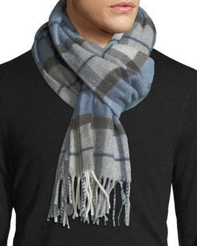 Eton Plaid Wool Scarf, Blue