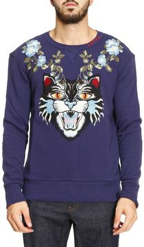 Gucci Sweatshirt Sweatshirt In Pure Cotton With'angry Cat' Maxi Patch And Floral Embroideries