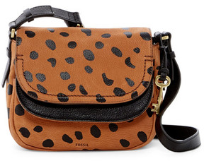 Fossil Peyton Printed Leather Double Flap Crossbody
