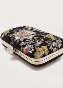 Violeta BY MANGO Floral embroidery clutch