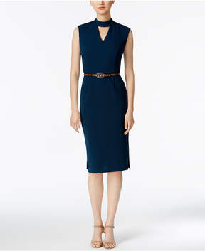 Connected Belted Choker Sheath Dress
